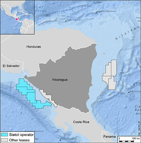 Map showing concession blcoks in the Pacific ocean off Nicaragua's coast.