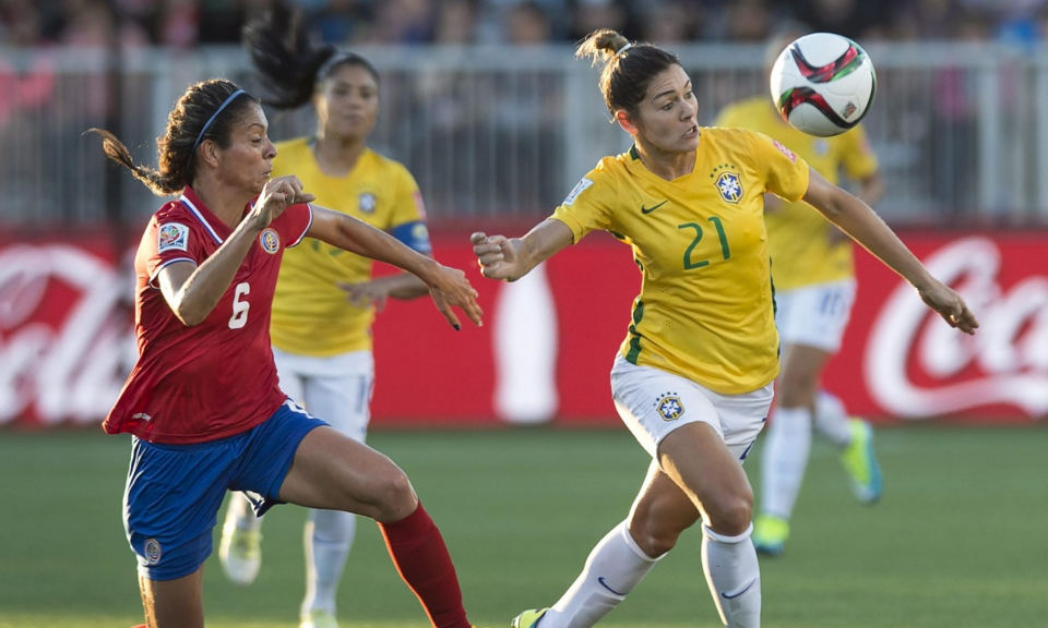 Brazil's Gabriela, right, and Costa Rica's Carol Sanchez race for the ball during the first half of the Group E FIFA Women's World Cup soccer game. Photograph: Andrew Vaughan/AP