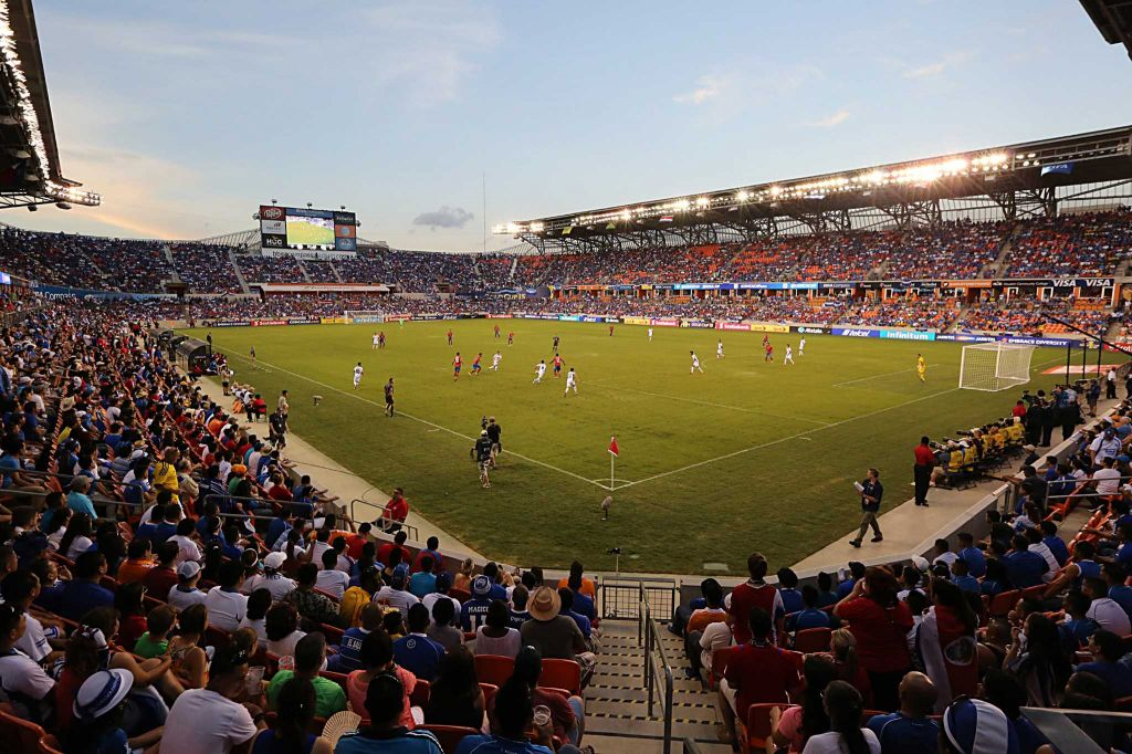 General play between Costa Rica and El Salvador in the first half in the Gold Cup action on Saturday, July 11, 2015 at BBVA Stadium in Houston, TX.
