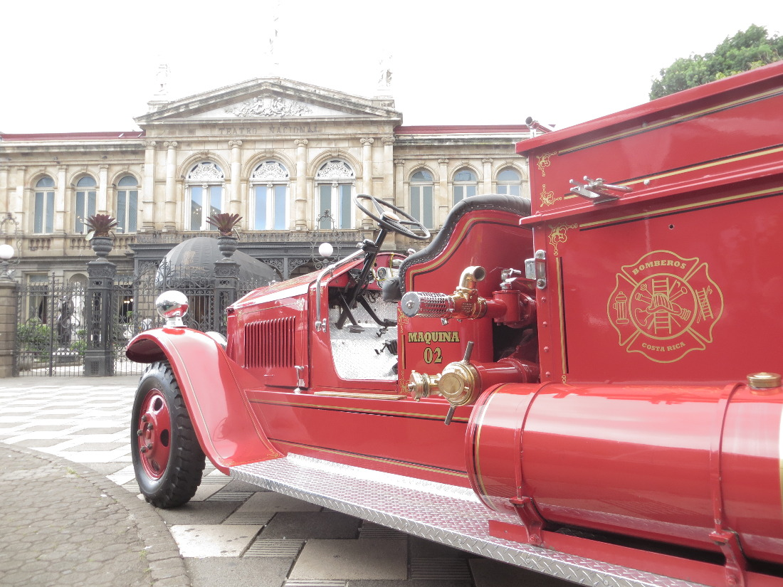 One of the antique fire trucks on display in front of the National Theater for 150th birthday of Costa Rica's Fire Department.