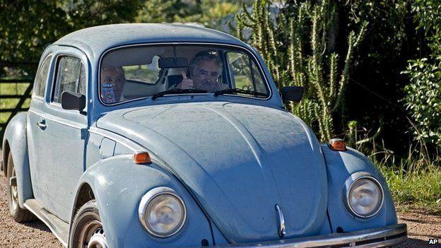 Mujica in his Beetle.