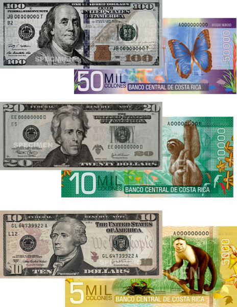 The exchange rate has been consistent around ¢500 to $1 for a few years.  This makes approximate conversions very easy.  Just double the number on the Costa Rican banknote to get the U.S. dollar equivalent.