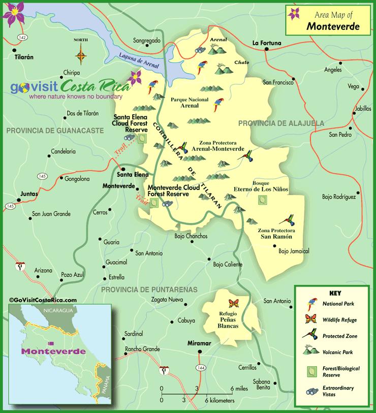 Monteverde Area Map