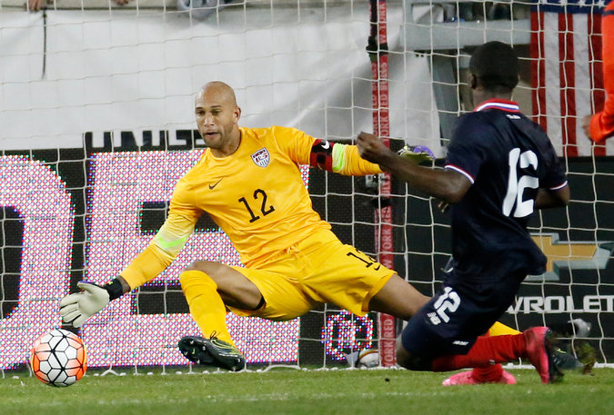 Tim Howard, back in goal after a yearlong sabbatical, could not stop Joel Campbell's second-half goal, which gave Costa Rica a 1-0 win. Credit Julio Cortez/Associated Press