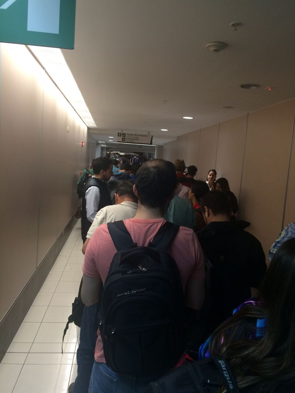 The lines extended to the corridors leading to the arrivals hall