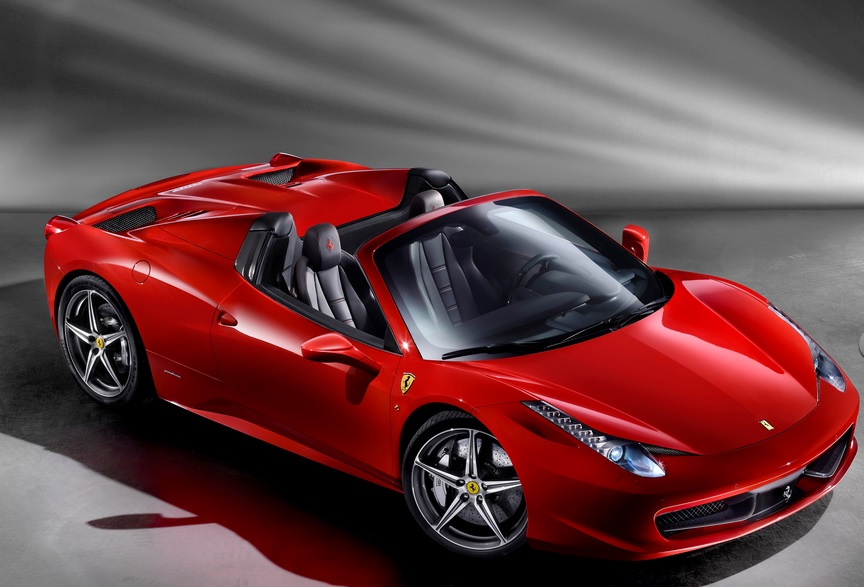 The Italian made Ferrari 458 Spider 2015 can go from 0-100 km/h in 3.4 seconds. A lot slower in San Jose traffic. Photo for illustrative purposes.