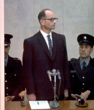 Adolf Eichmann on trial, April 21, 1961 in Jerusalem. (Credit: John Milli/GPO via Getty Images)