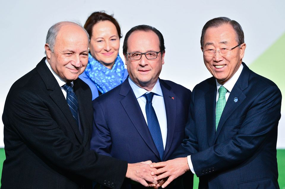 François Hollande and Ban Ki-moon arriving at COP21 talks on 30 November. Photograph: Francois Pauletto/Demotix/Corbis