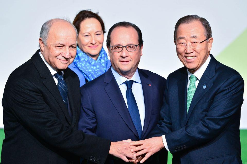 François Hollande and Ban Ki-moon arriving at COP21 talks on 30 November. Photograph: Francois Pauletto/Demotix/Corbis