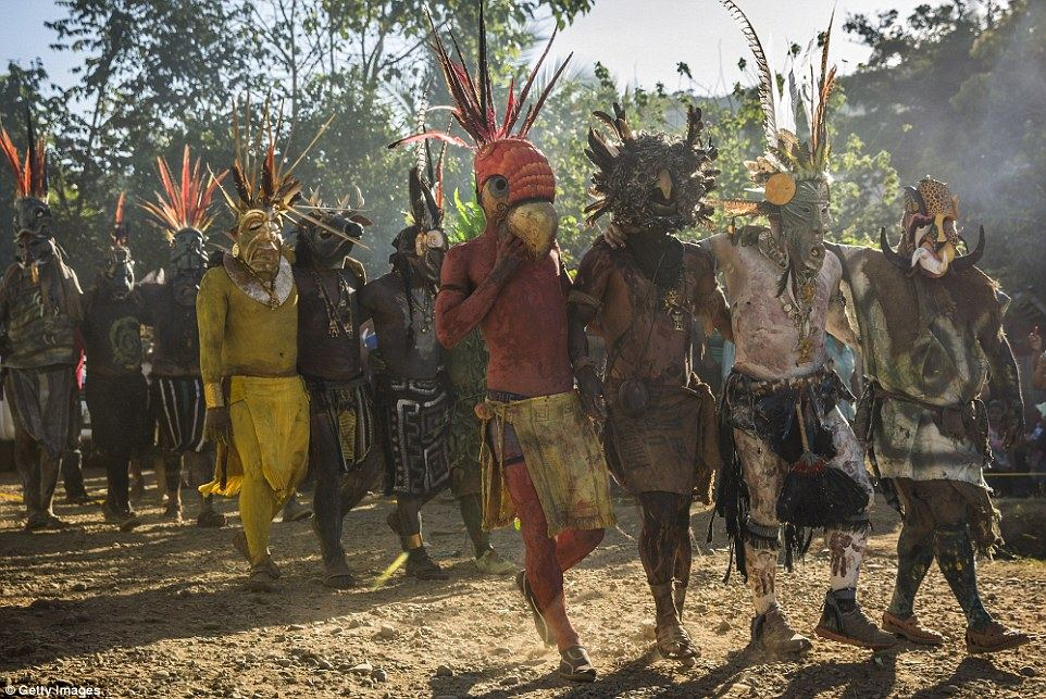 The El Juego de los Diablitos (Dance of the Little Devils) is one of the most important traditional festivals in Boruca culture Read more: http://www.dailymail.co.uk/travel/travel_news/article-3382683/Costa-Rica-s-Boruca-tribe-enacts-resistance-against-Spanish-conquerors.html#ixzz3wHxzc6gN Follow us: @MailOnline on Twitter | DailyMail on Facebook