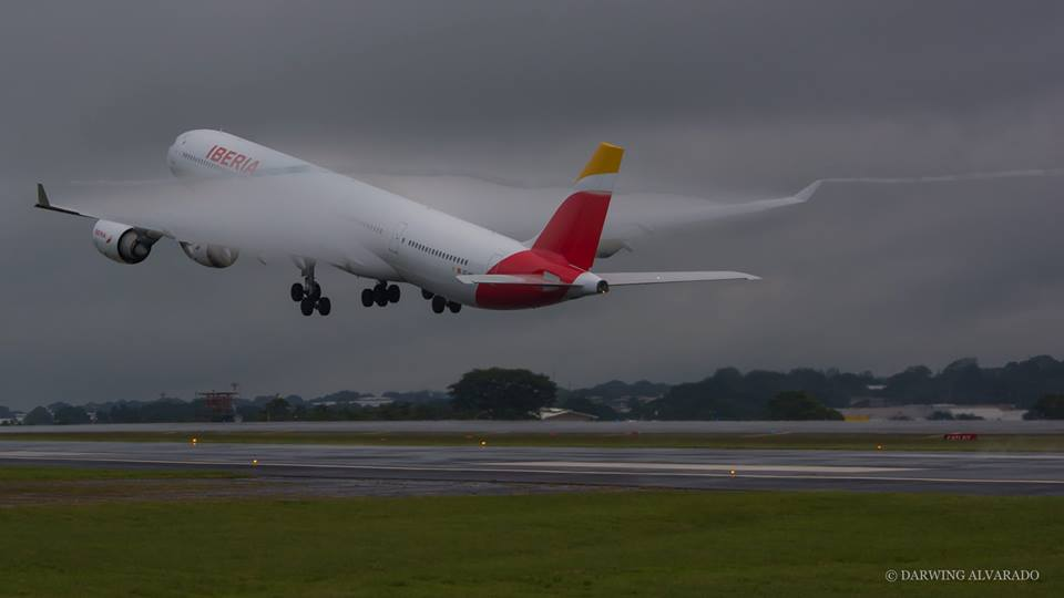 Iberia airline's A346 taking off at the Juan Santamaria International airport (SJO)