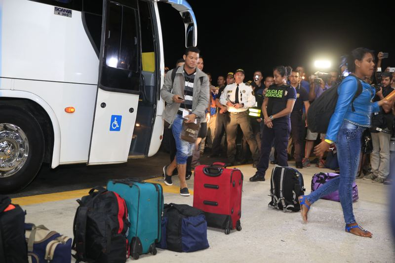 First 180 of the almost 8,000 Cuban migrants stranded in Costa Rica leaving the Liberia airport, bound for El Salvador, to continue their journaly by land to Guatemala, Mexico and final destinationa, the U.S. border