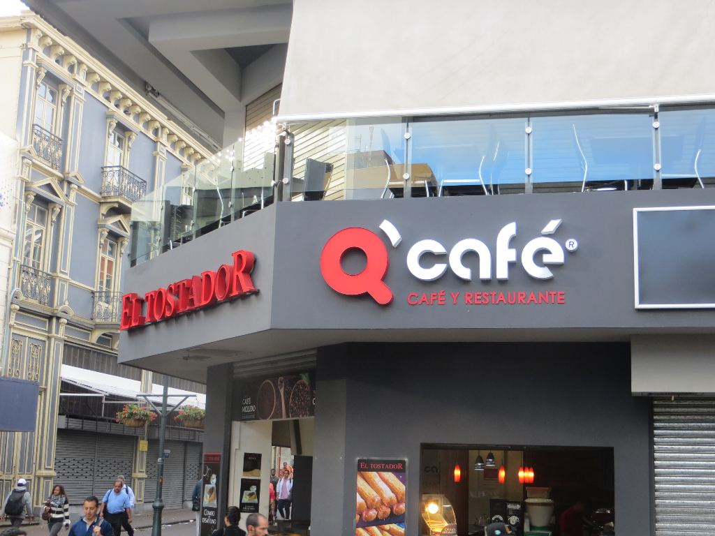 On a busy corner of Avenida Central, Q Cafe with it's second-floor tables, is a popular restaurant that offers good food, non-stop people watching, and very good coffee.