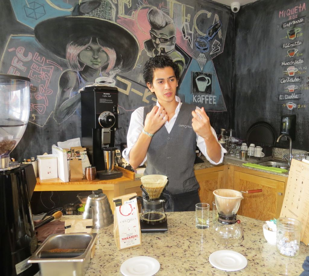 Highly skilled barista, Remy Molina, explains the many factors that can influence the flavor of fine coffee, at Cafe Oteca (part of Restaurant Kalu) in Barrio Escalante. And yes, Remy was named for the famous cognac, Rémy Martin, which his father was drinking when he was born.