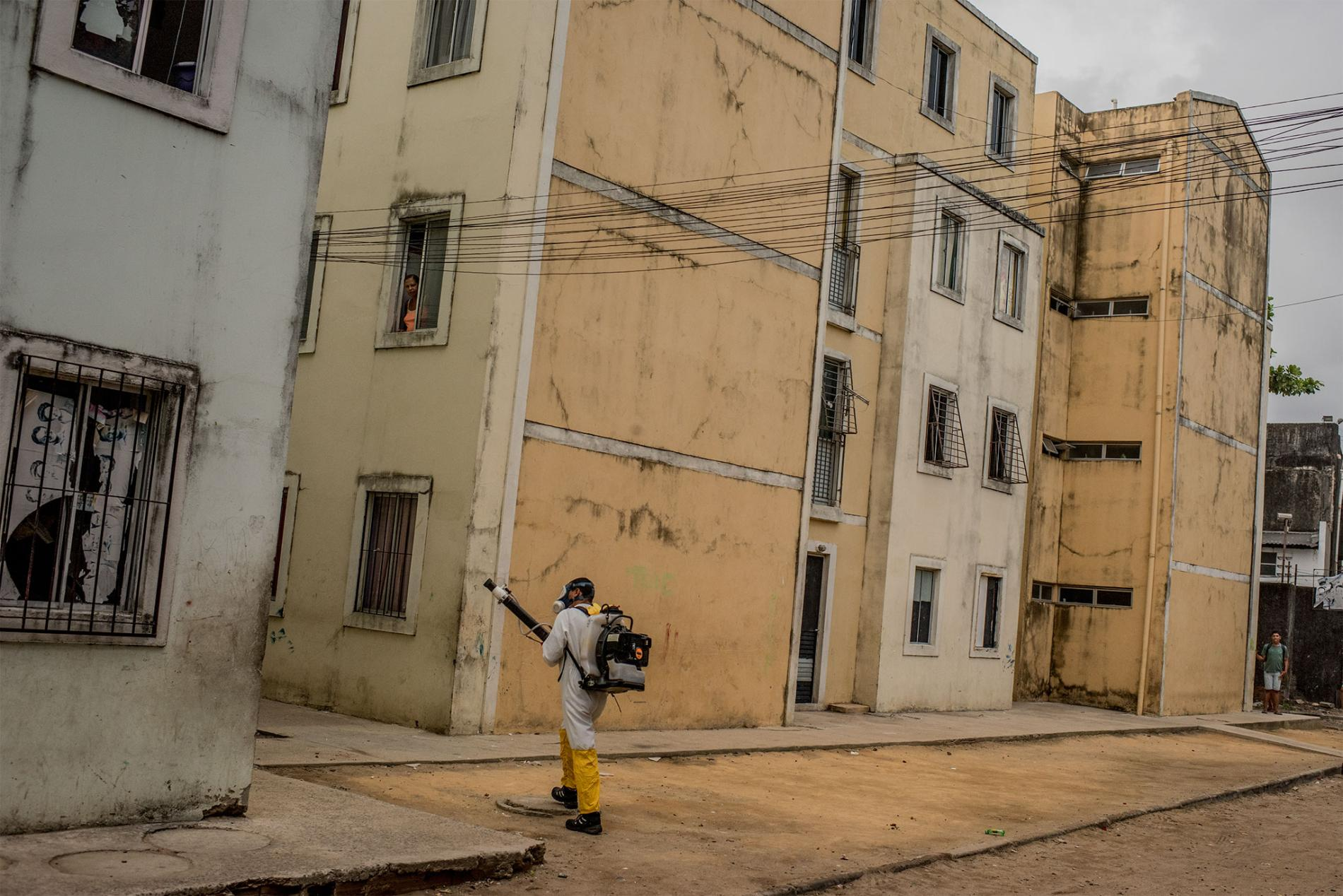 A health worker fumigates a neighborhood in Recife. Munita says that people are often surprised to see fumigators on their streets. Some close their doors against the spray, while some open them to help kill mosquitoes in their houses.