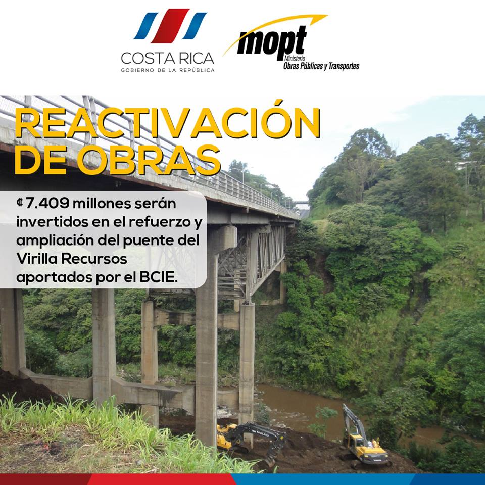 "On Thursday work restarted on the ""definite"" repair of the La Platina bridge. It's been 7 years, three governments since since."