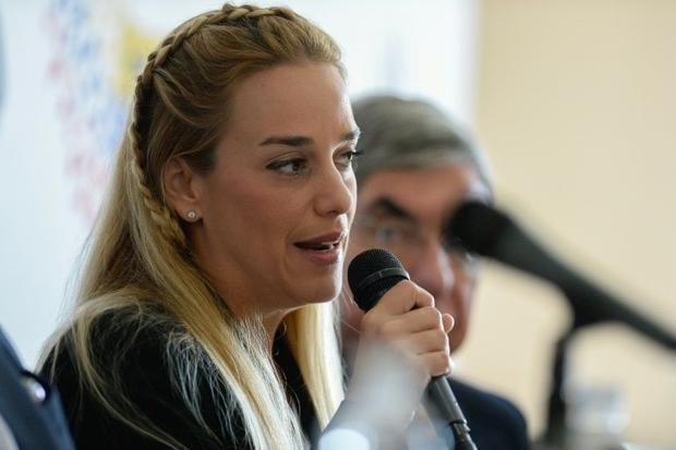 Lilian Tintori, the wife of jailed Venezuelan opposition leader Leopoldo Lopez, speaks during a meeting with students and relatives of victims of the 2014 anti-government protests, in Caracas, on February 19, 2016 Read more: http://www.digitaljournal.com/image/284775#ixzz41HcHlobX