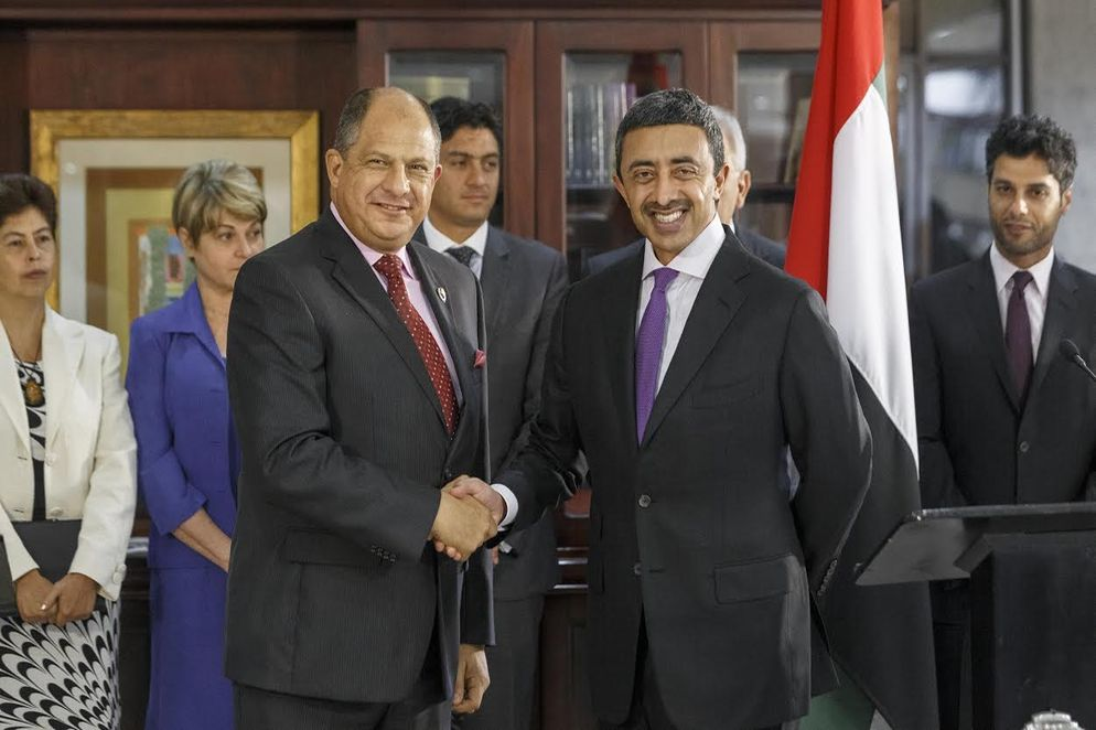 Sheikh Abdullah bin Zayed Al-Nahyan met this afternoon with President Luis Guillermo Solis, at the presidential palace in Zapote