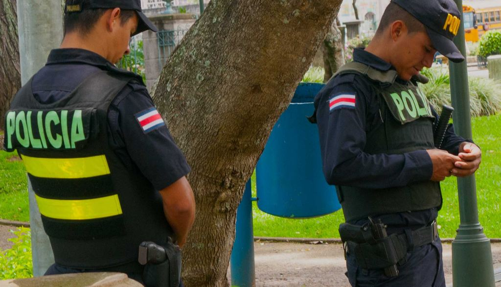 Pictured are oficials of the Fuerza Publica (police), The 'police' and 'traffic police' in Costa Rica are two separate and distinct police forces.