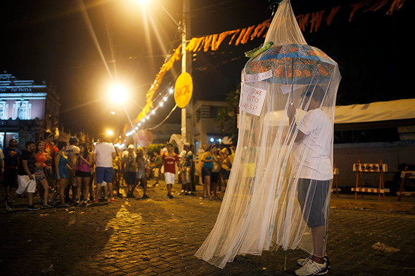 A reveler stands beneath a mosquito net, as a satirical costume, during Carnival celebrations in Olinda, sister city to Recife, which remains a hotbed of Zika virus outbreaks in Brazil. (Photograph by Mario Tama/Getty Images)