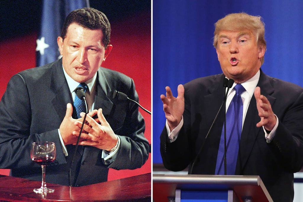 Former Venezuelan leader Hugo Chávez, left, August 2007; and Republican presidential front-runner Donald Trump, Feb. 23. Photo: HENNY RAY ABRAMS/Agence France-Presse/Getty Images (Chavez); Chip Somodevilla/Getty Images (Trump)