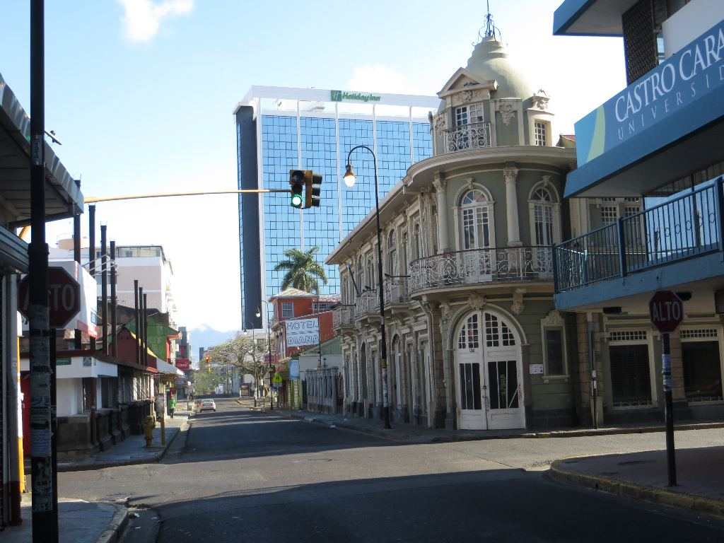 Familiar downtown views, such as this shot of Calle 5 showing buildings both old and the new, show a rare scene with almost no traffic.