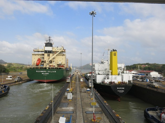 wo ships go through the Miraflores locks on the Pacific side of the Panama Canal, which raise or lower vessels 16.5 metres and take 40 minutes to pass through. Credit: Iralís Fragiel/IPS