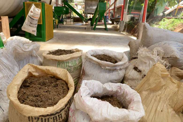Dung and offal used to produce gas at Costa Rica. Animal compost at Del Valle slaughterhouse in Belen, Costa Rica