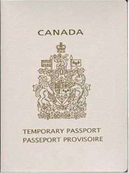 Cover of Canadian temporary passport