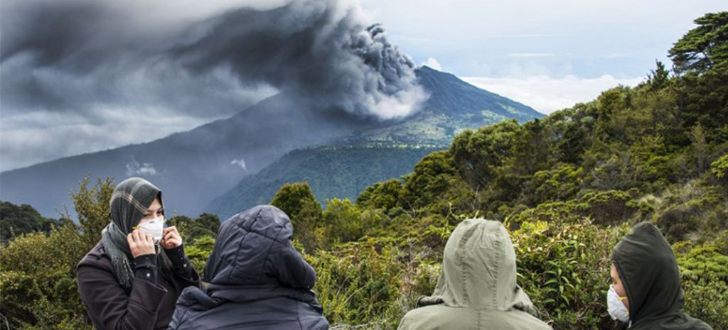 The Turrialba volcano now in its fourth day of spewing ash, gases and pyroplastic material