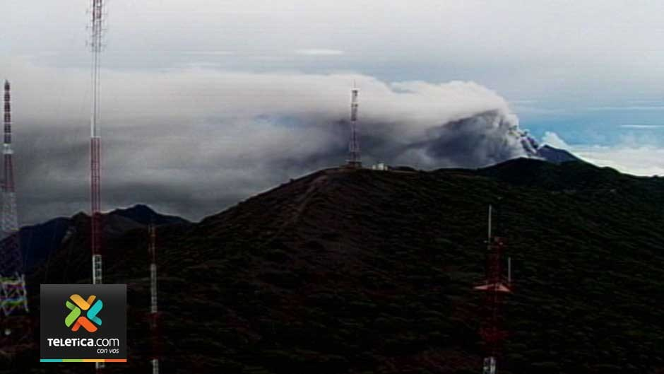 The Turrialba volcano as seen this morning (Tuesday) from the Telenoticias camera atop the Irazu volcano.