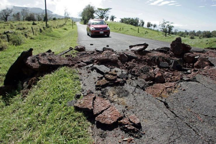 Earthquake fissure on remote road near Ciudad Quesada from 7.6 Costa Rica earthquake on Sept 5, 2012