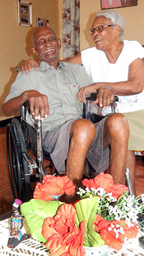 """Cecil who turns 105 in October, with his younger wife Iris, 86, says """"Love is what has led him to live a long life"""""""