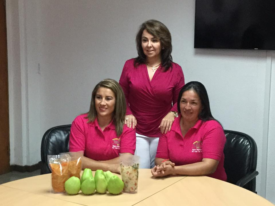 Yorleni Araya and Roxana Araya (sitting) are two of the women of the Mujeres Emprendedoras del Valle de Ujarras (Enterprising Women of Ujarras Valley) interviewed for the Chayote event
