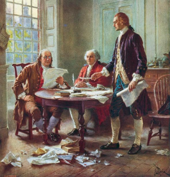 Benjamin Franklin, John Adams, and Thomas Jefferson (left to right) draft the Declaration of Independence. Illustration courtesy Jean Leon Gerome Ferris, Library of Congress
