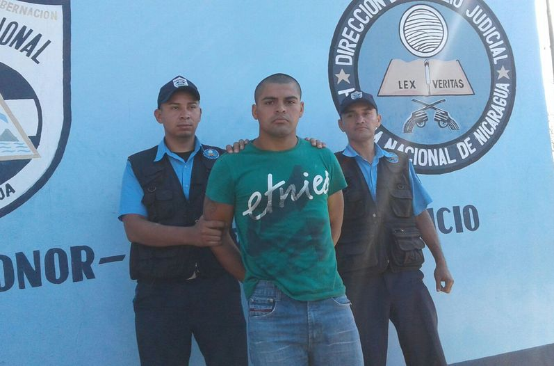 Michael Adrián Salmerón Silva following his arrest in Nicaragua in February