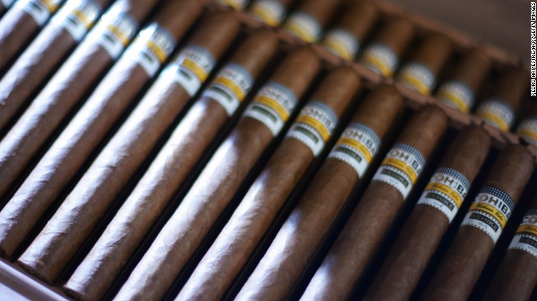Cuba's tobacco industry resulted in another staple the country is known for -- cigars. Pictured, a box of the world's most expensive cigars, Cuban Cohiba Behike cigar.