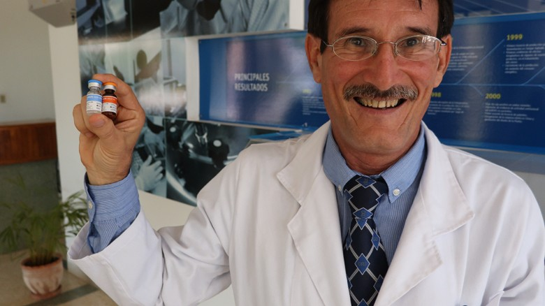 Scientists at the Centro de Immunologia Molecular, the Center for Molecular Immunology (CIM), have created a vaccine to treat lung cancer. This has caught the attention of several countries around the world, including the US. Pictured, researcher Camilo Rodriguez with vials of the vaccine.