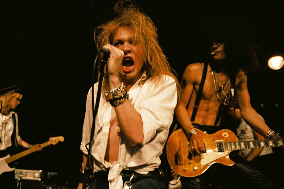 (L-R) Duff McKagan, Axl Rose and Slash
