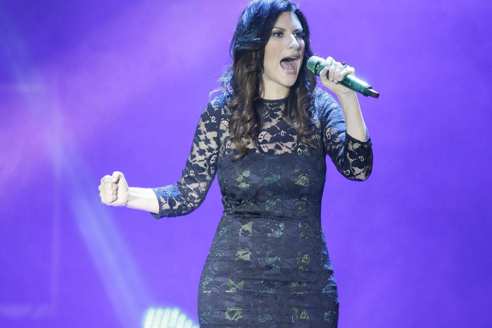 Laura Pausini on stage at the National Stadium in La Sabana (San Jose) Saturday night