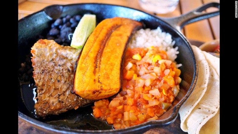 Nicoya Peninsula, Costa Rica – Native tubors, such as yams, are a common ingredient. Pictured, a traditional Costa Rican casado meal with rice, beans and plantain.