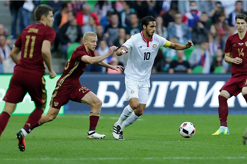 Bryan Ruiz fue figura de Costa Rica en el partido ante Rusia. (Federación de Fútbol de Rusia)
