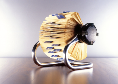 The Rolodex, once an essen­tial tool for maintaining customer data.