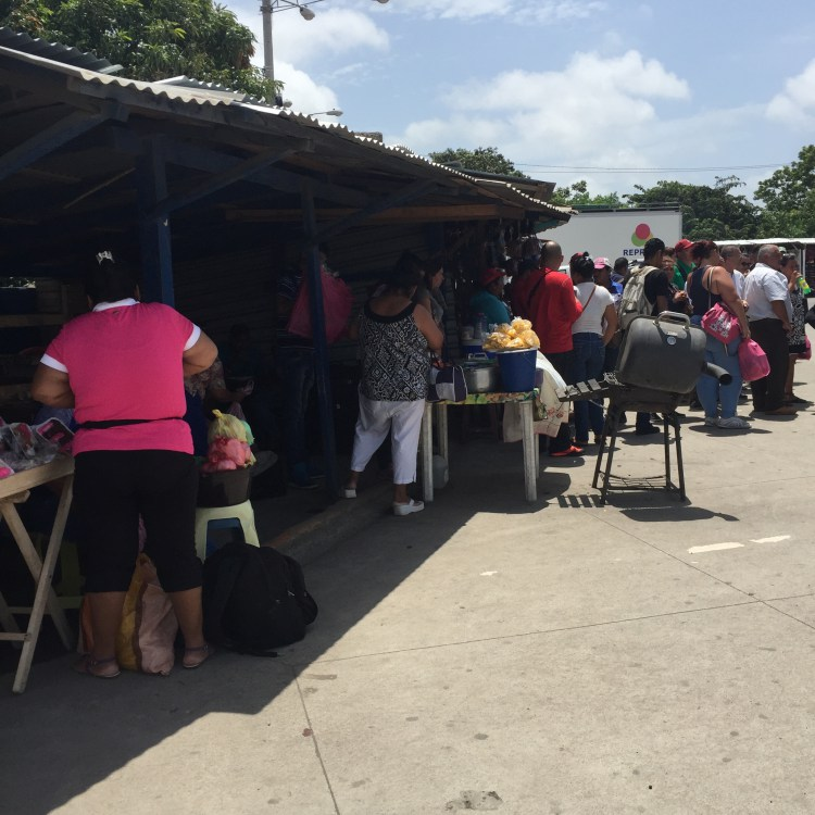 Vendors across from Nicaraguan Customs Building