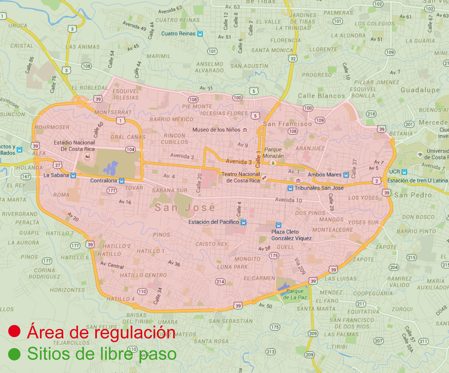 The vehicular retrictios of San Jose. Red is the restriced area of the capital city.
