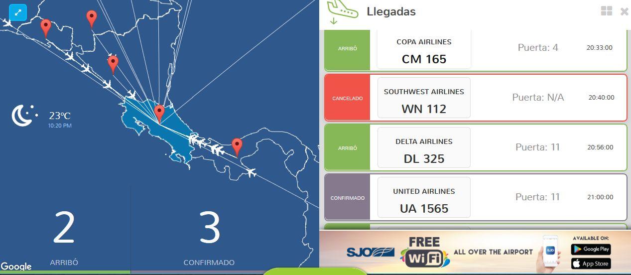 Screen capture of San jose flights information