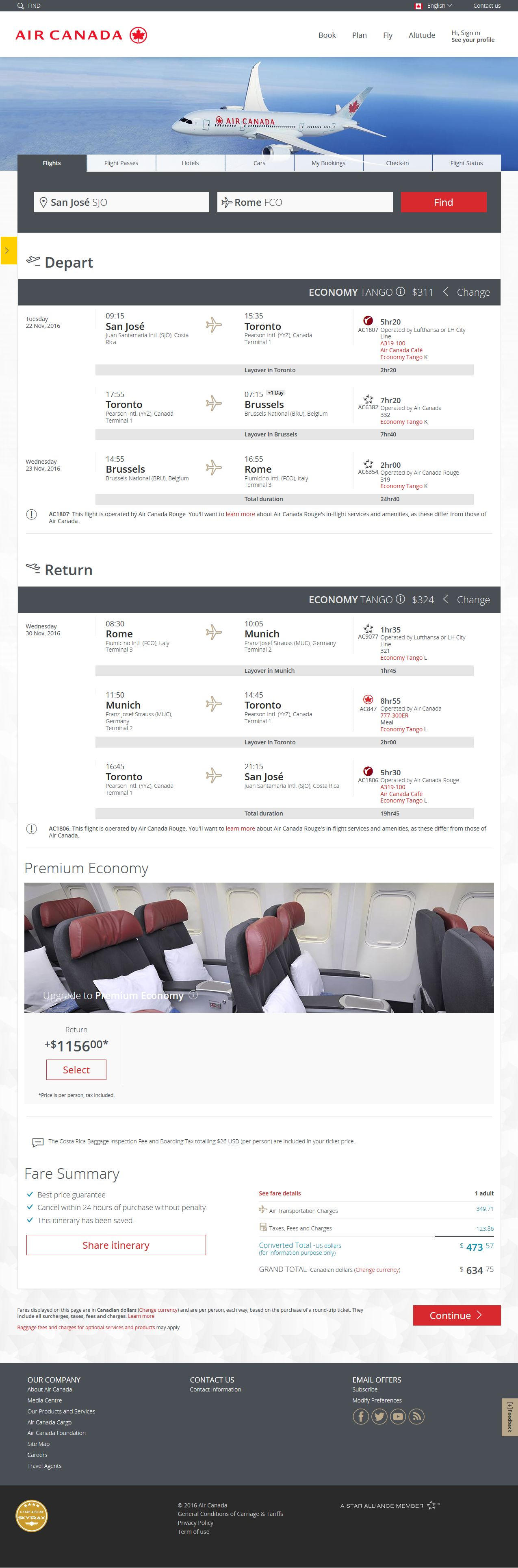 Screenshot of Air Canada reservation for fligth between San Jose and Rome, departing November 22 and returning November 29