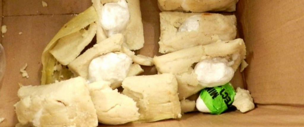 Cocaine stuffed tamales. U.S. Customs and Border Protection officers at the George Bush Intercontinental Airport in Houston stopped a would be smuggler from bringing nearly 7 ounces of cocaine into the country in tamales, Aug. 22, 2014. ABC News