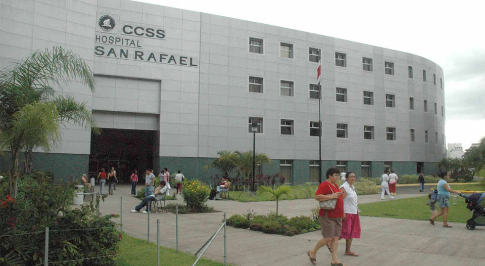 The CCSS or Caja operates public hospitals such as the Alajuela hospital  (pictured) and clinics.