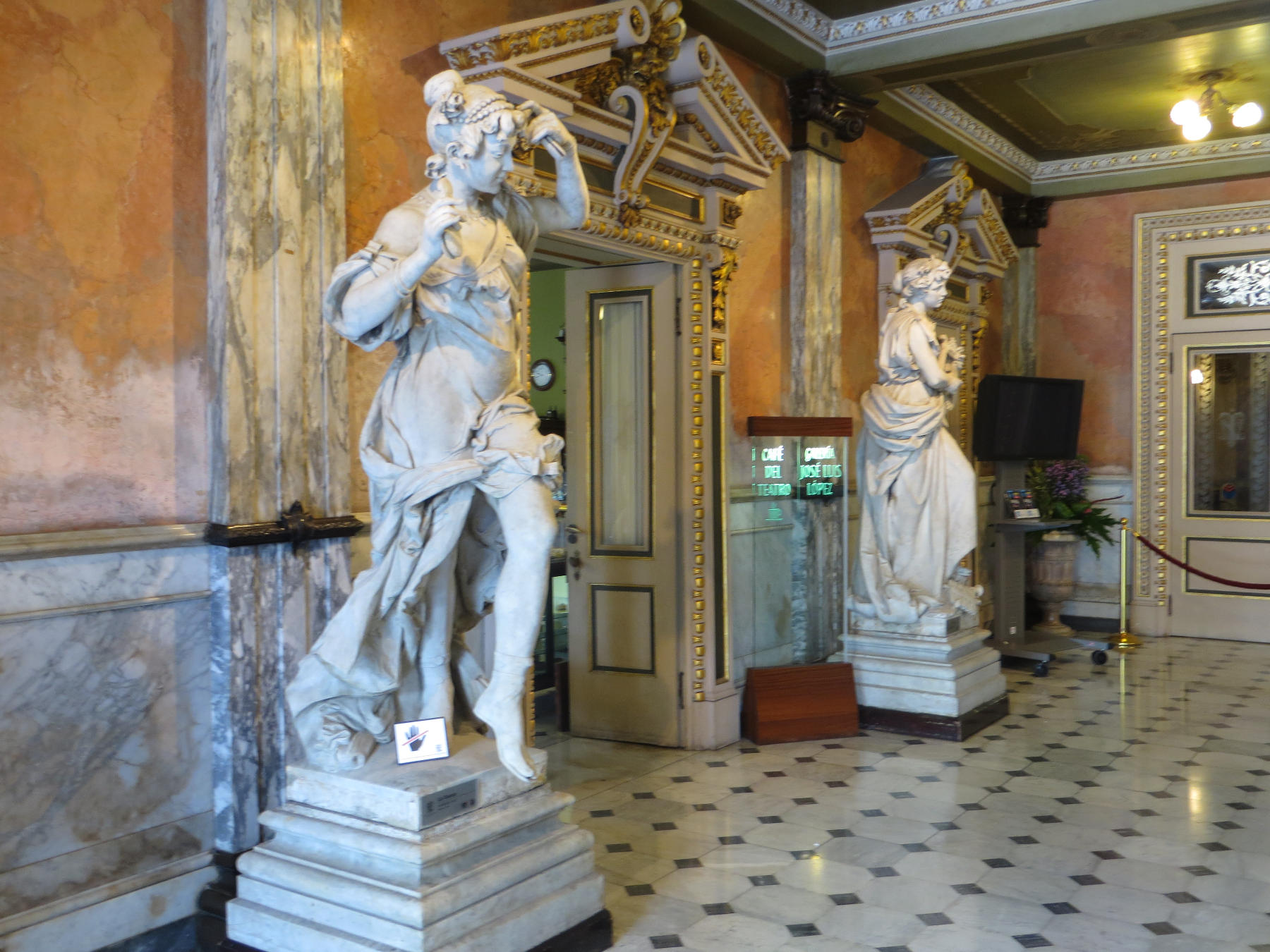 Statues by Italian and Costa Rican artists adorn the lobby of the National Theater.